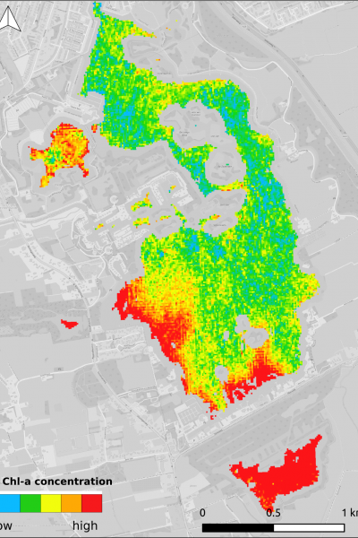Figure one: Chlorophyll-a distribution over lake Paterswoldsemeer, throughout a day in June 2016. One of the two in situ monitoring locations, as well as the bathing water, are located along the south-eastern shore. Image: Water Insight